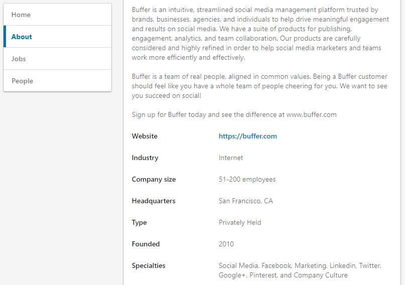 Buffer LinkedIn company page